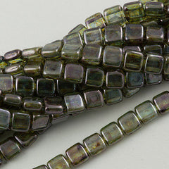50 CzechMates 6mm Two Hole Tile Beads Transparent Green Luster T6-65431