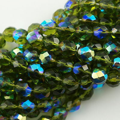 50 Czech Fire Polished 8mm Round Bead Dark Olivine AB FP8-50240X