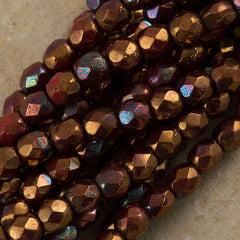 100 Czech Fire Polished 4mm Round Bead Opaque Red Bronze Hematite (15780)