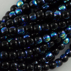 200 Czech 4mm Pressed Glass Round Beads Jet AB (23980X)