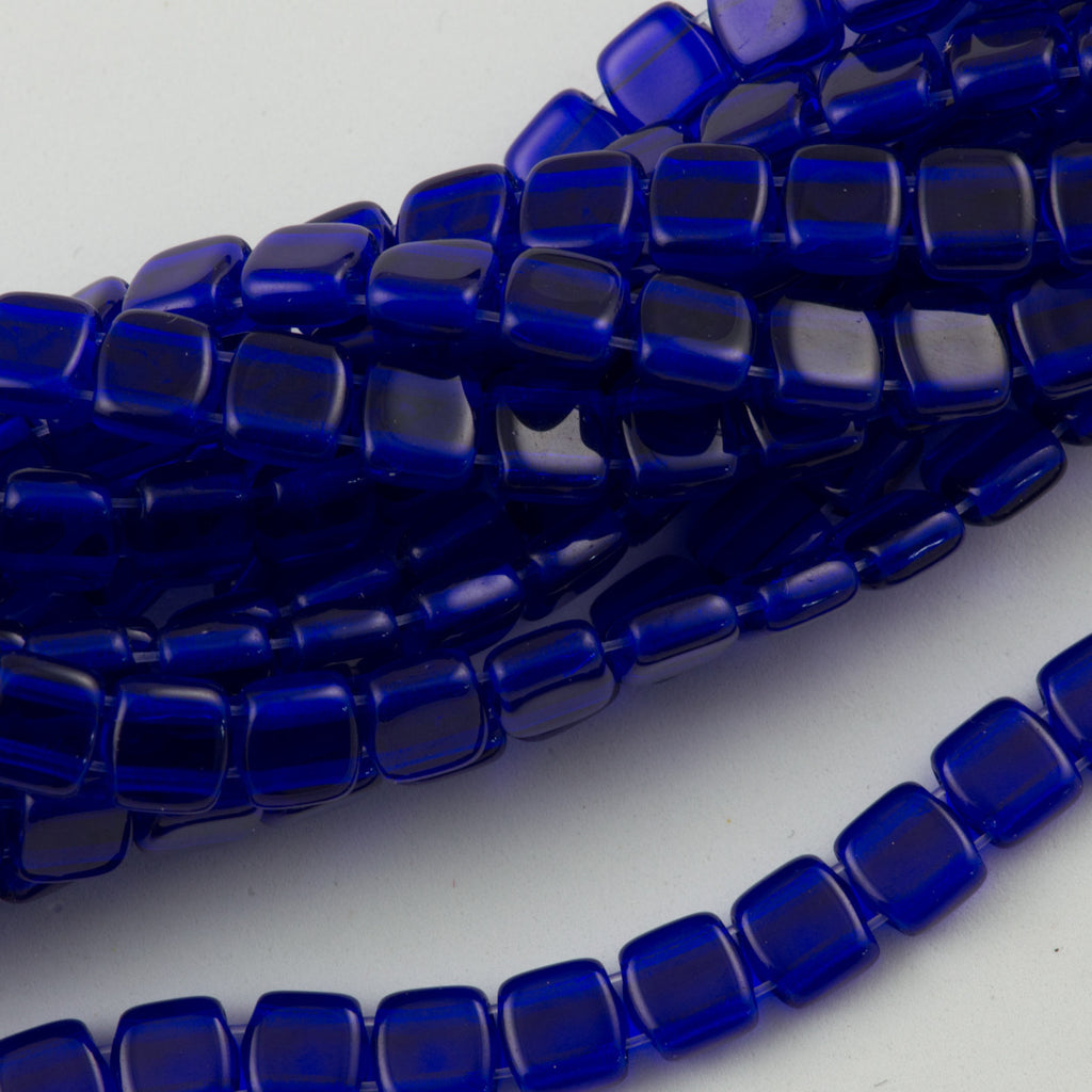50 CzechMates 6mm Two Hole Tile Beads Cobalt (30090)