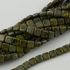 50 CzechMates 6mm Two Hole Tile Beads Opaque Olive Picasso (53420T)