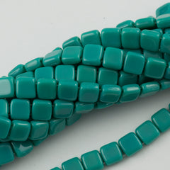 50 CzechMates 6mm Two Hole Tile Beads Persian Turquoise (63150)