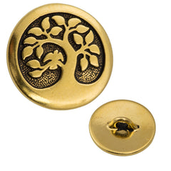 16mm TierraCast Brass Color Bird in a Tree Button
