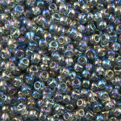 50g Toho Round Seed Bead 11/0 Transparent Black Diamond AB (176)