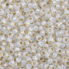 Toho Round Seed Bead 8/0 Silver Lined Milk White 5.5-inch tube (2100)