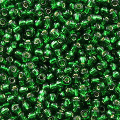 Toho Round Seed Bead 6/0 Silver Lined Dark Green 5.5-inch tube (27B)