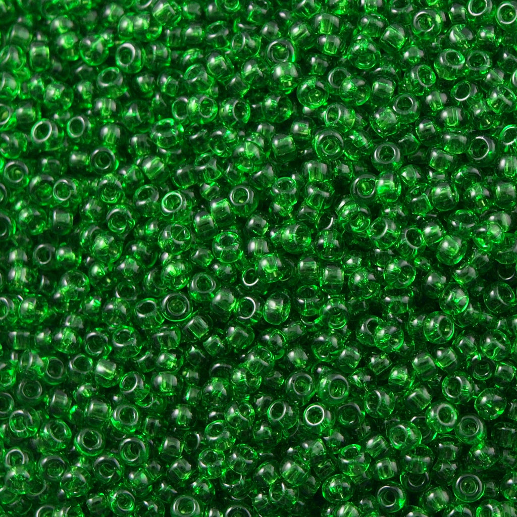Toho Round Seed Bead 6/0 Transparent Medium Green 5.5-inch tube (7B)