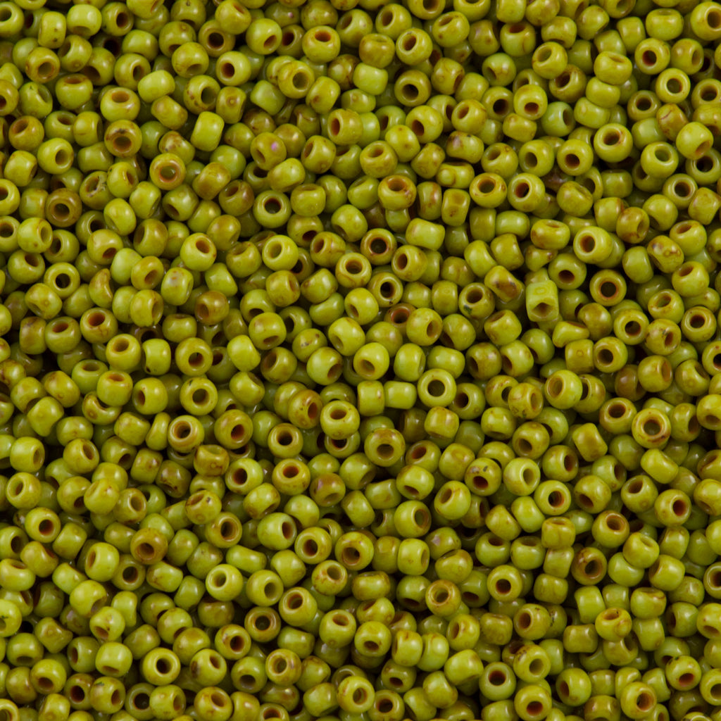 Toho Hybrid Round Seed Bead 11/0 Sour Apple Picasso 19g Tube (Y310)