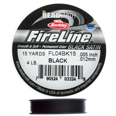 Fireline Black Satin 4Lb Beading Thread 15 yard Spool