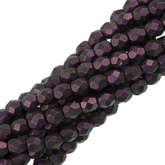 100 Czech Fire Polished 4mm Round Bead Polychrome Black Current (94101)