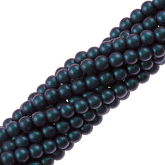100 Czech 6mm Pressed Glass Round Polychrome Indigo Orchid Beads (94105)
