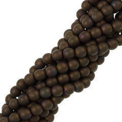 100 Czech 6mm Pressed Glass Round Matte Oxidized Bronze Clay Beads (15768M)
