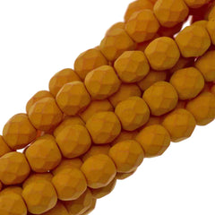 100 Czech Fire Polished 4mm Round Bead Saturated Pumpkin (29536)