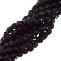 100 Czech Fire Polished 4mm Round Bead Garnet (90110)