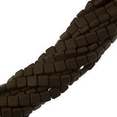 50 CzechMates 6mm Two Hole Tile Beads Matte Chocolate Brown (13720M)