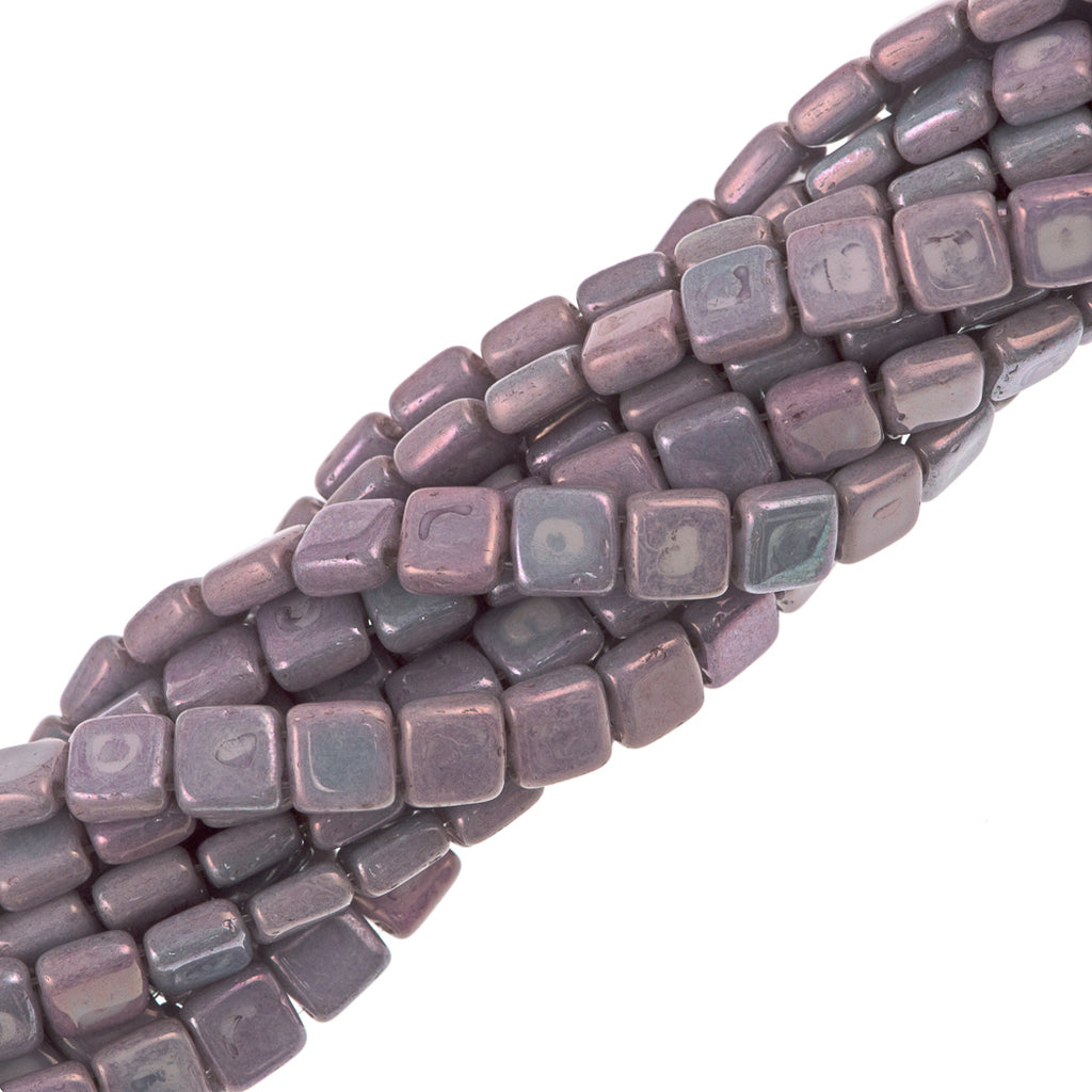 50 CzechMates 6mm Two Hole Tile Beads Opaque Amethyst Luster (15726P)
