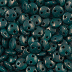 50 CzechMates 6mm Two Hole Lentil Persian Turquoise Moon Dust Beads (63150MD)
