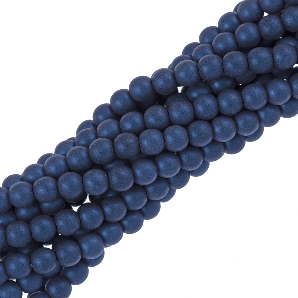 100 Czech 6mm Pressed Glass Round Beads Metallic Suede Blue (79031)