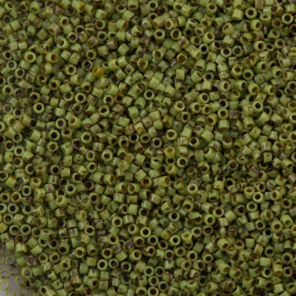 25g Miyuki Delica Seed Bead 11/0 Matte Picasso Chartreuse DB2265