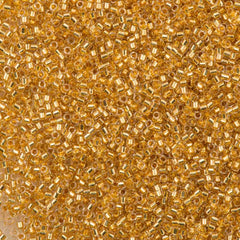25g Miyuki Delica Seed Bead 11/0 24kt Gold Lined Crystal DB33