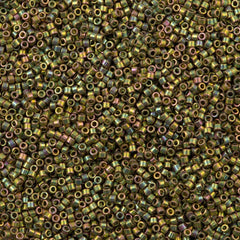 25g Miyuki Delica Seed Bead 11/0 24kt Gold Plated Green AB DB508
