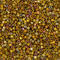 Miyuki Hex Cut Delica Seed Bead 11/0 24kt Gold Plated Rose AB 7g Tube DBC501
