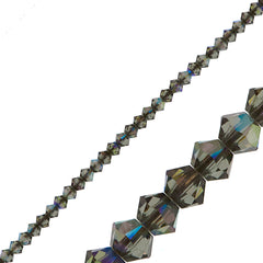 144 Swarovski 3mm 5328 Xilion Bicone Bead Black Diamond AB (215 AB)