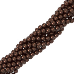100 Swarovski 5810 4mm Round Velvet Brown Pearl Beads