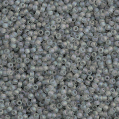 Toho Round Seed Bead 11/0 Transparent Matte Light Gray AB 19g Tube (176AF)