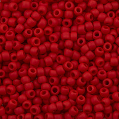 Toho Round Seed Bead 8/0 Opaque Matte Orange Red 5.5-inch tube (45AF)