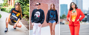 Multiple models wearing either a vintage nascar t shirt, vintage phantom of the opera sweatshirt, vintage nfl carolina panther sweatshirt, or 80s nike tee