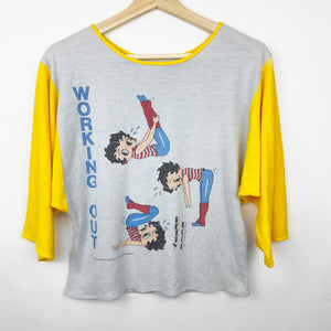 Vintage 80s 1983 Betty Boop 'Working Out' Women's Graphic Shirt