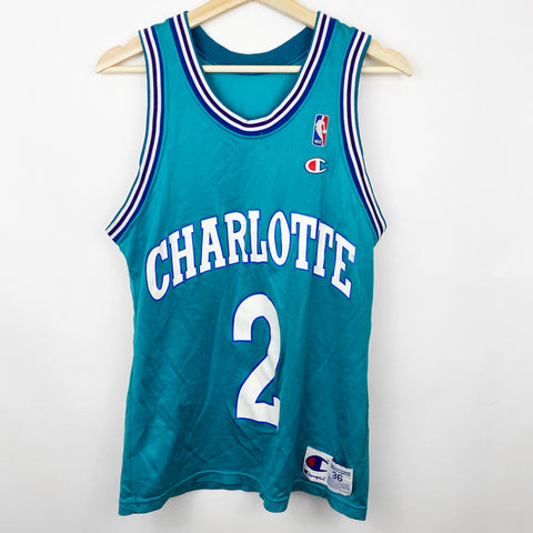 Vintage 90s Champion Brand Charlotte Hornets Larry Johnson #2 Teal Jersey