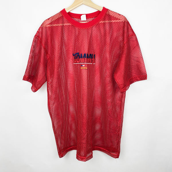 Vintage 90s Bootleg Tommy Sports Mesh See-Through Red Jersey