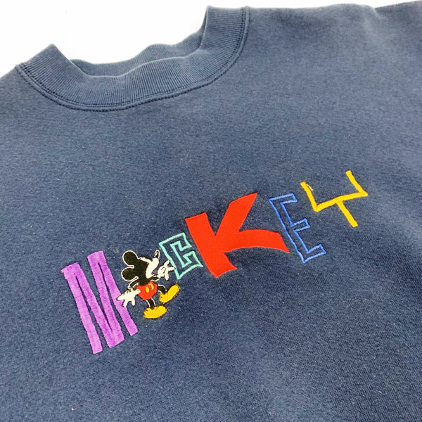 Vintage Disney Mickey Mouse Spell Out Embroidered Sweatshirt - Public Interest CLT