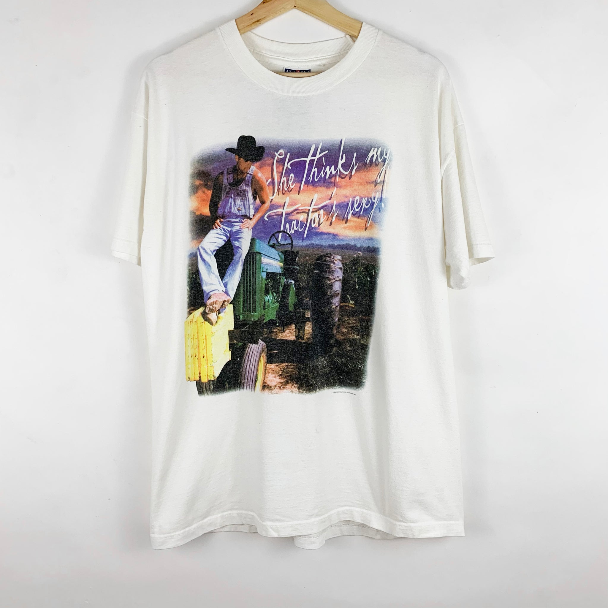 Vintage 2000 Kenny Chesney 'She Thinks My Tractor's Sexy' Music Graphic Shirt