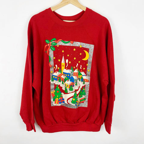 Vintage Colorful Winter Wonderland Christmas Town Sweatshirt