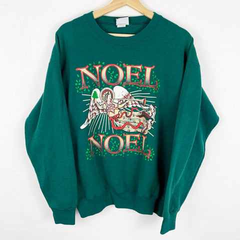Vintage 'Noel, Noel Heavenly Angel Playing Trumpet' Green Sweatshirt