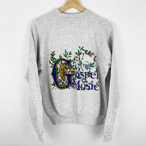 Vintage 'I love Gospel Music' Floral & Heavenly Angel Harp Player Sweatshirt