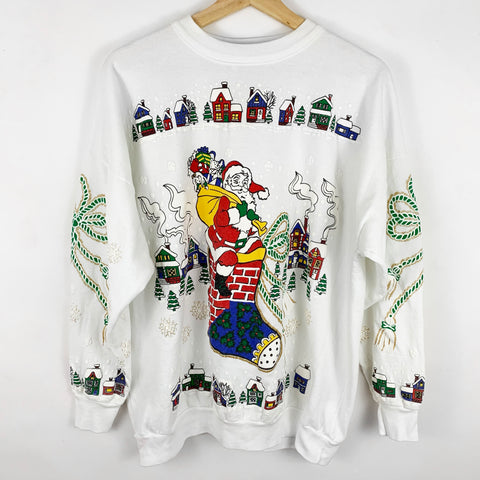 Vintage Santa Claus & His Sack of Presents on a Chimney Stocking Puff Paint Sweatshirt