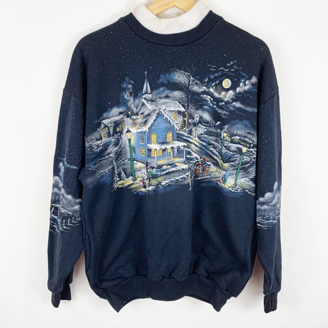 Vintage 'Sleepy Snowy Night Neighborhood & Santa's Sleigh' Sweatshirt