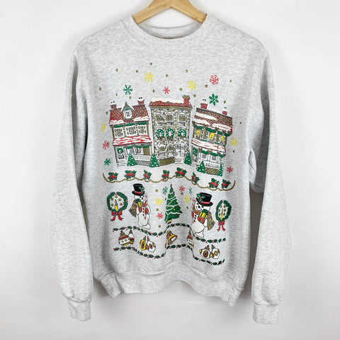 Vintage 'Snowmen Dancing in Holiday Town' Grey Sweatshirt