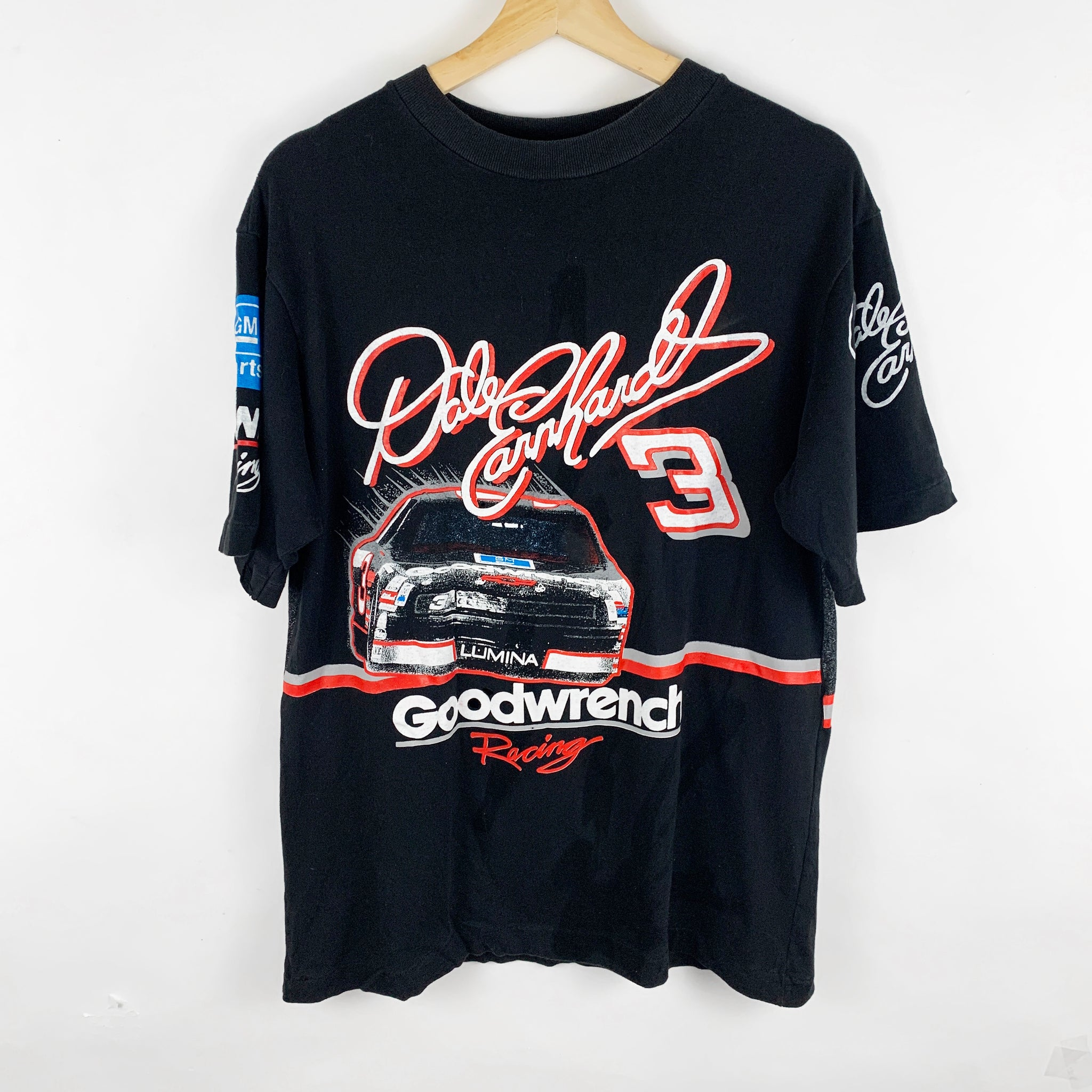 Vintage 90s Dale Earnhardt Goodwrench Racing All-Over-Print NASCAR Graphic Shirt