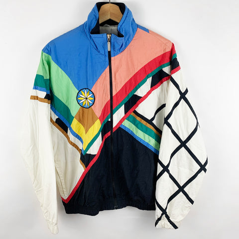 Vintage Multi-Colorful Windbreaker with Embroidered Flower Detail