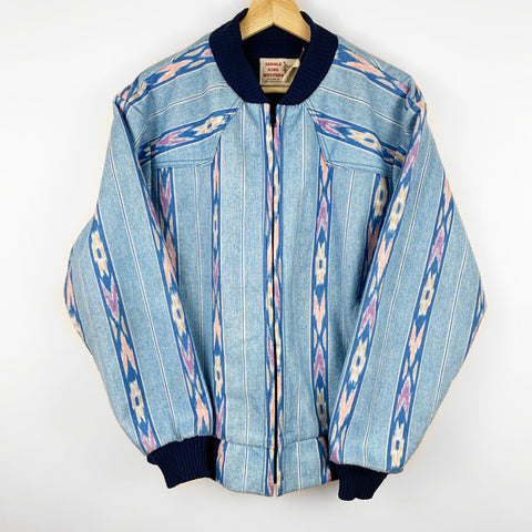 Vintage 90s Deadstock Light Blue Aztec Design Bomber Style Jacket