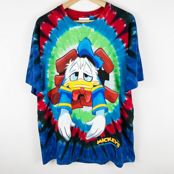 Vintage 90s Tie Dye Disney's Donald Duck 'Mickey's Philharmagic' All Over Graphic Shirt