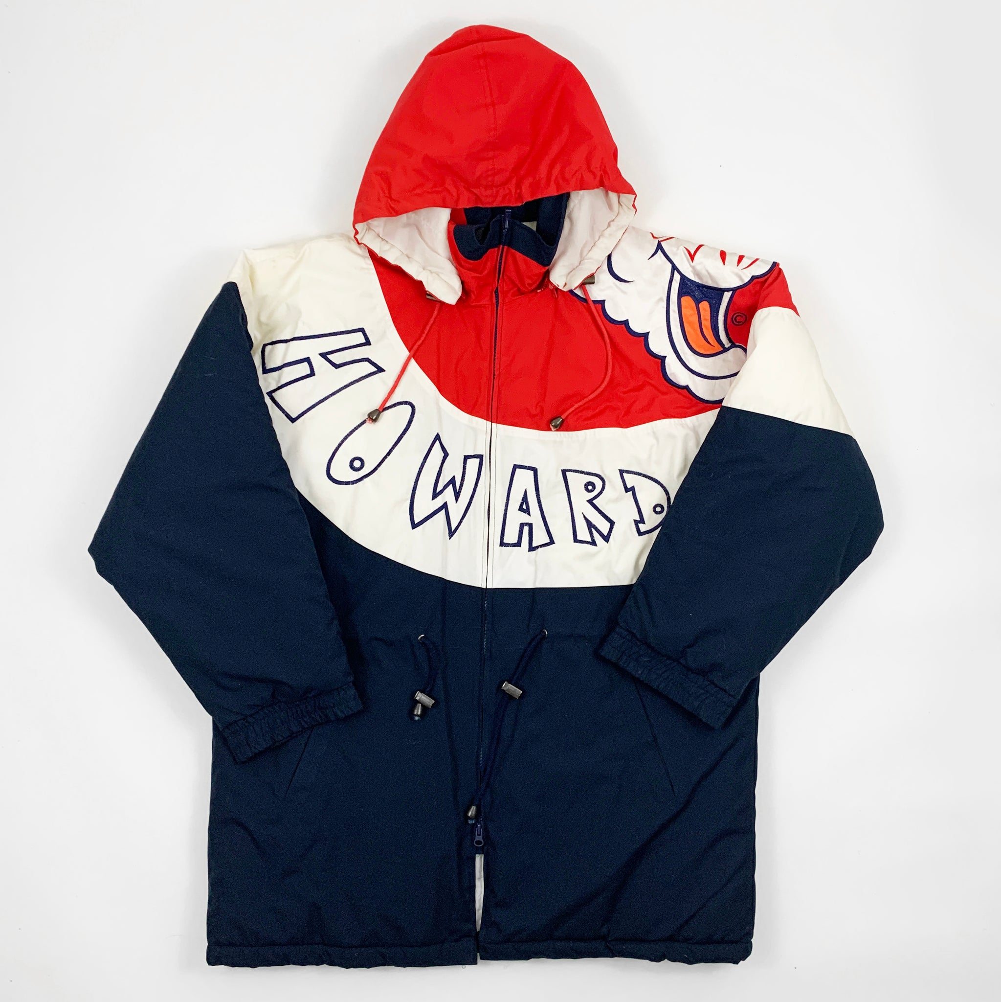 Vintage 90s Deadstock Howard University All Over Design 'Bison' Spell Out & Mascot Jacket