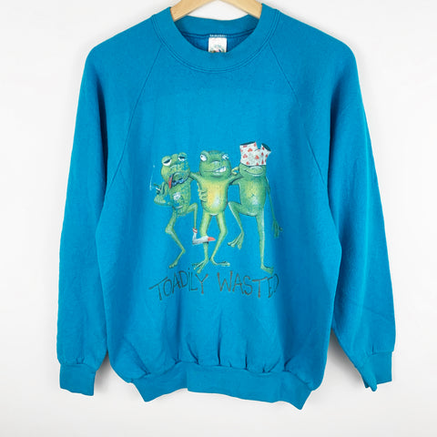 Vintage 'Toadily Wasted' Funny Frog Graphic Sweatshirt