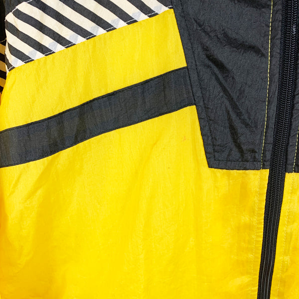 Vintage Black & Yellow Striped Windbreaker